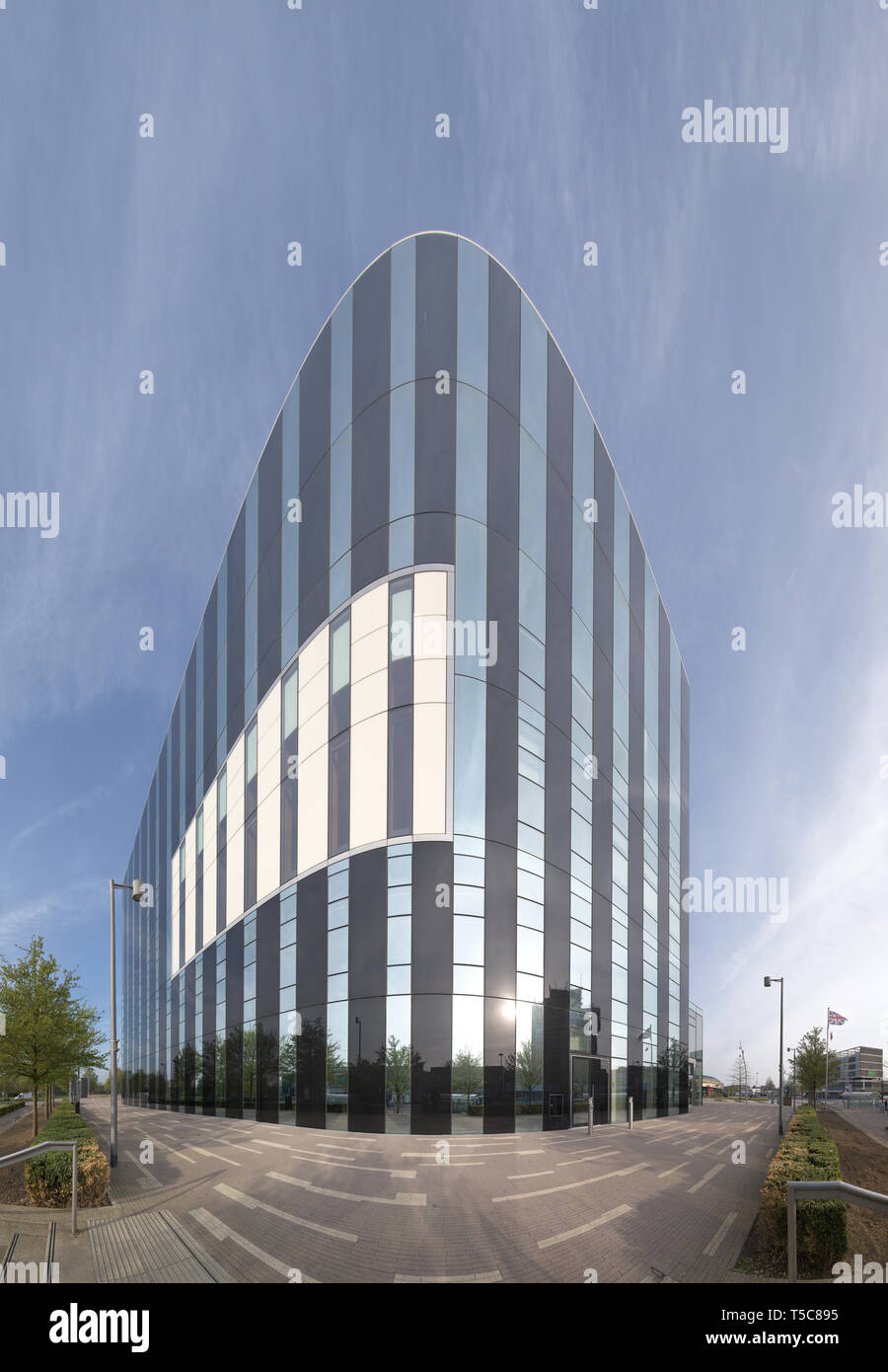 The modern, glass and steel, local government building called Cube at the town centre of Corby, England. - Stock Image