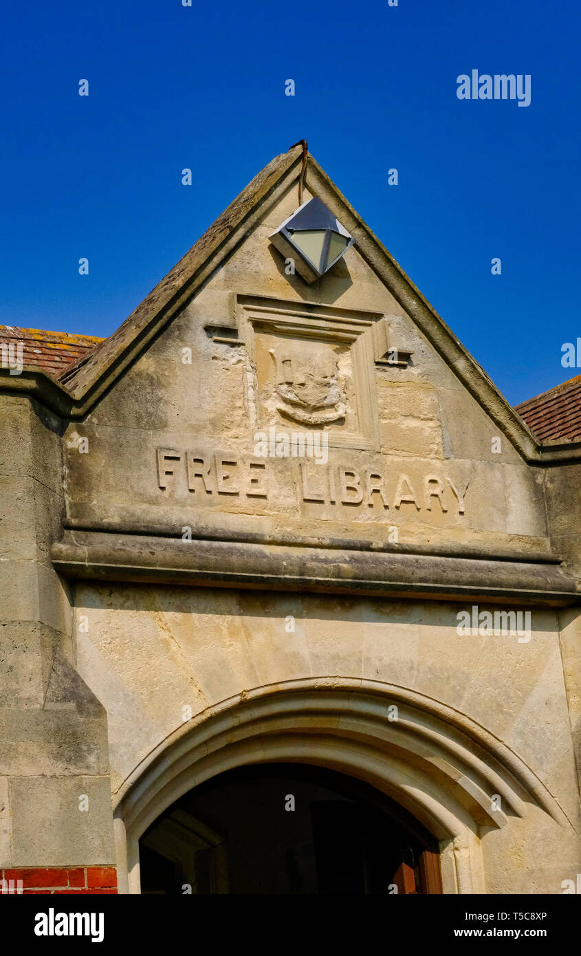 Front elevation of Littlehampton library, West Sussex. The library was built in 1906 and is an Andrew Carnegie legacy library Stock Photo