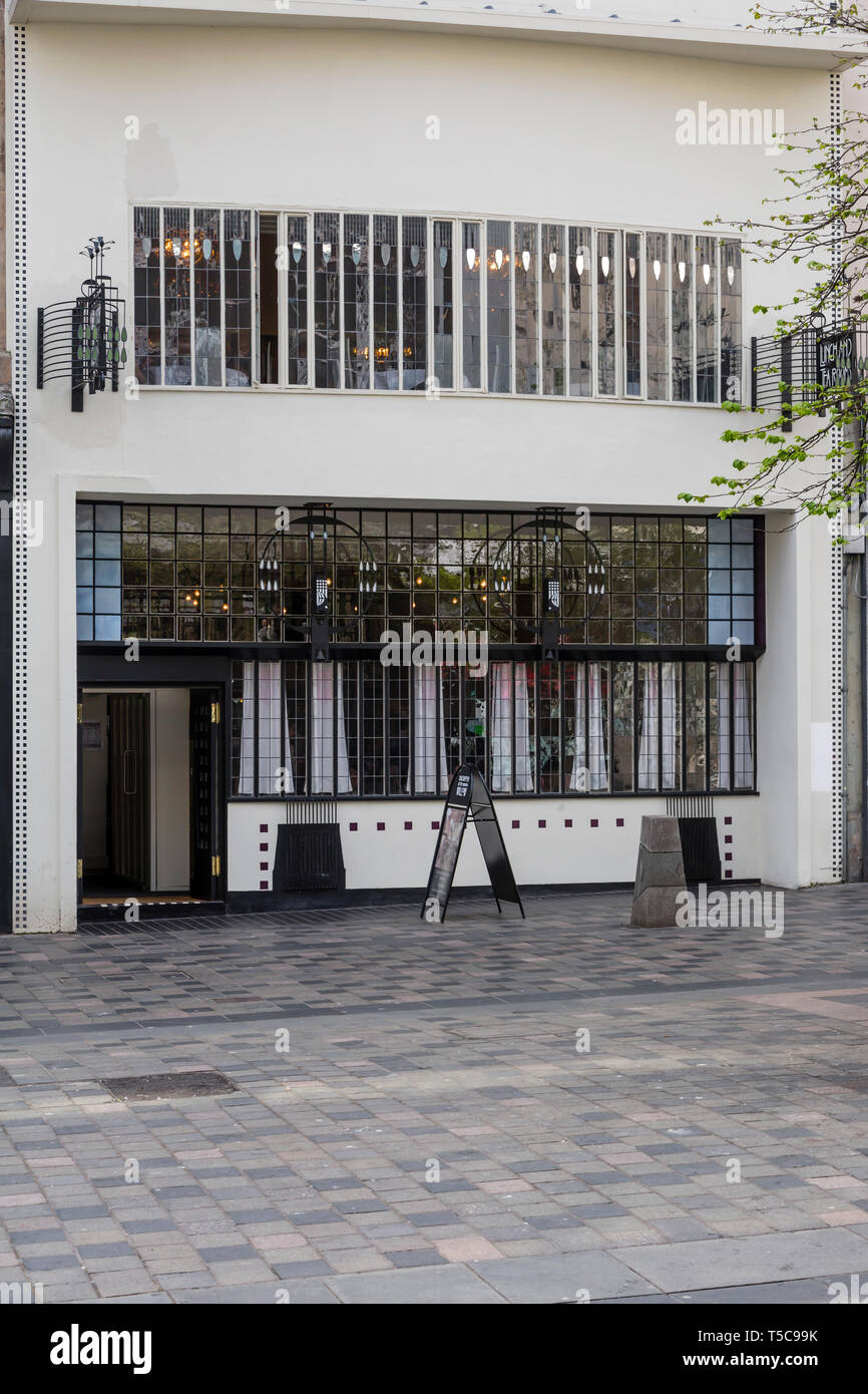 The front façade of Mackintosh at the Willow Tea Rooms on Sauchiehall Street in Glasgow city centre, Scotland, UK Stock Photo
