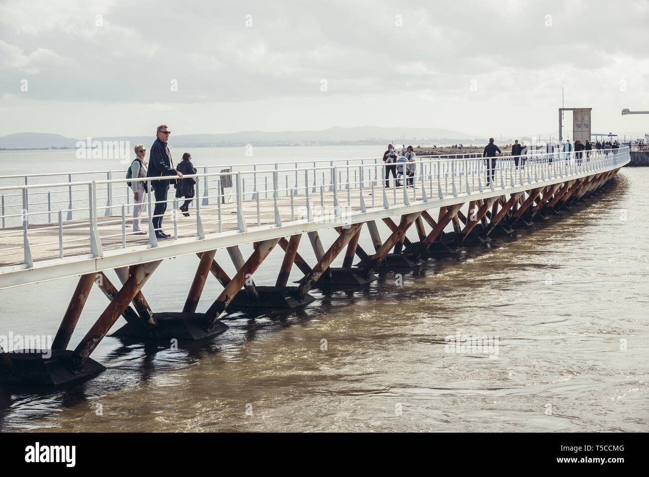 Passeio das Tagides pier in Park of Nations in Lisbon city, Portugal - Stock Image