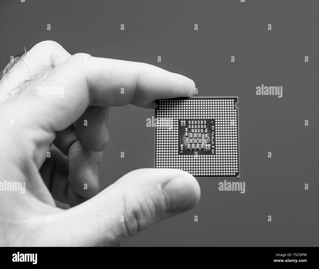 Male IT professional holding in hand used burnt powerful CPU Central processing unit with high core count and elevated frequency - isolated black and white photo - Stock Image