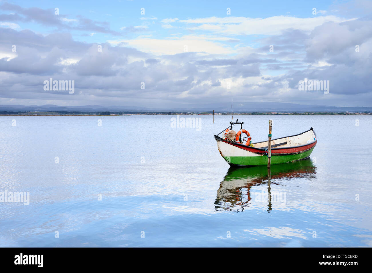 Green boat anchored near the kake coast under yhe cloudy sky at Torreira, Portugal - Stock Image