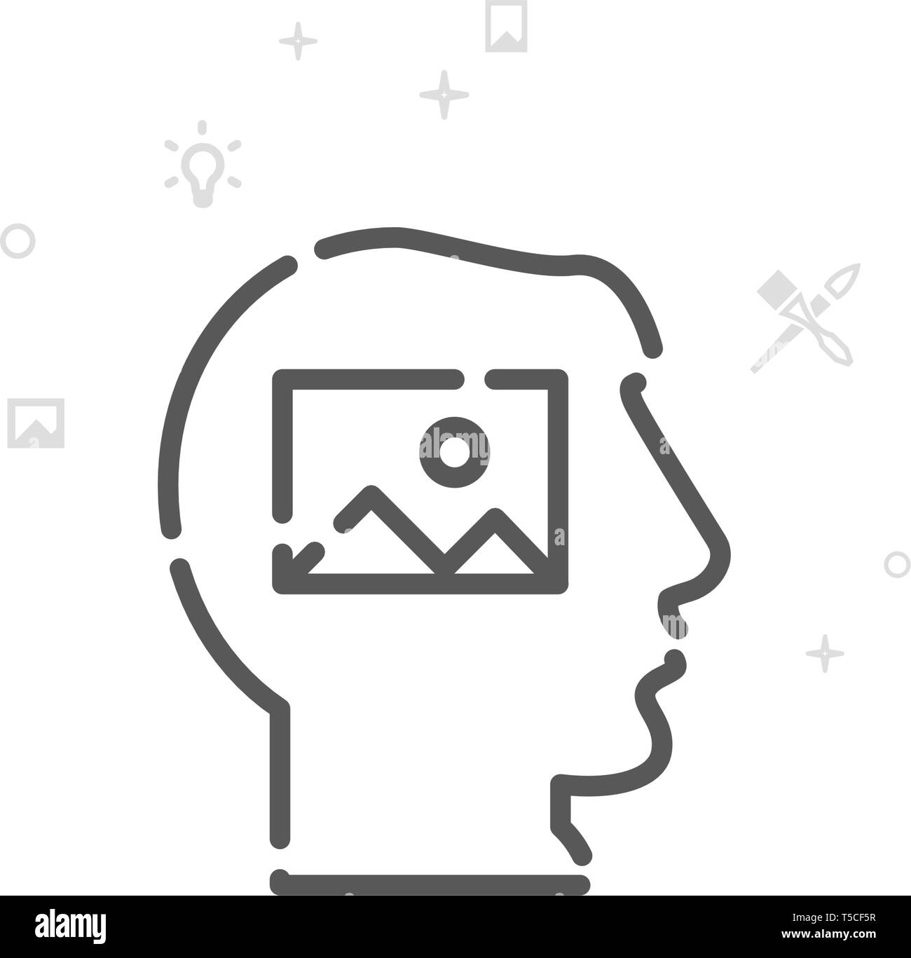 Visualize Vector Line Icon, Symbol, Pictogram, Sign. Light Abstract Geometric Background. Editable Stroke - Stock Image