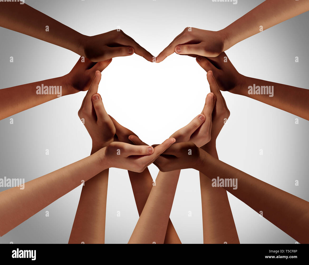 Heart hands as a group of diverse people hands connected ...