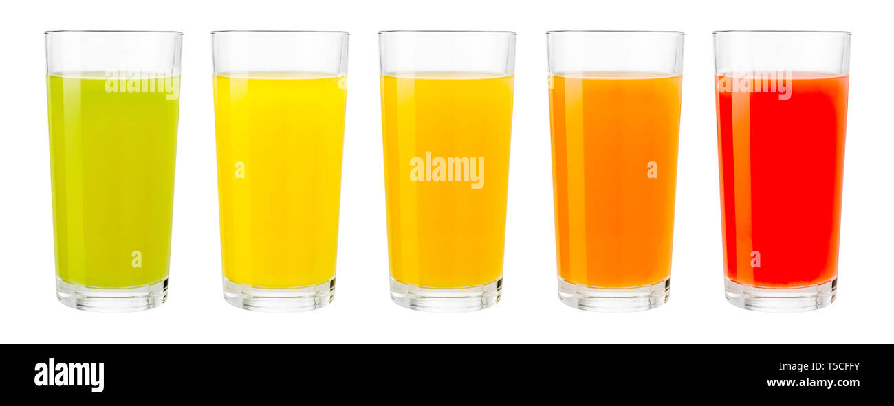 set of various color juice in glasses isolated on white - Stock Image
