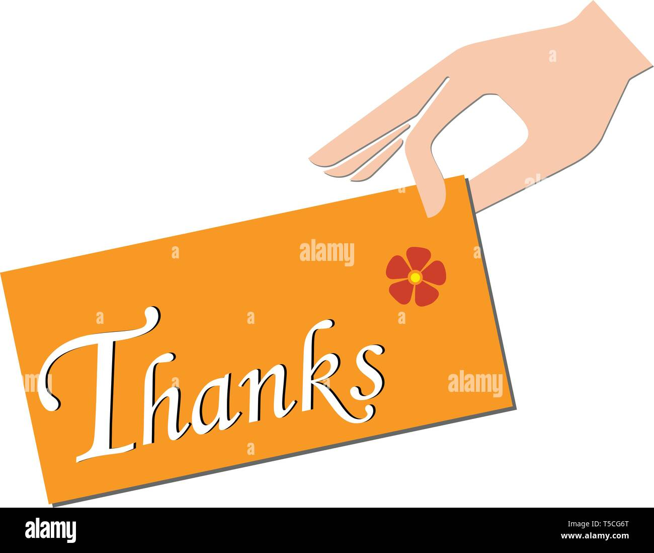Hand holding a note on which is written thanks - Stock Vector