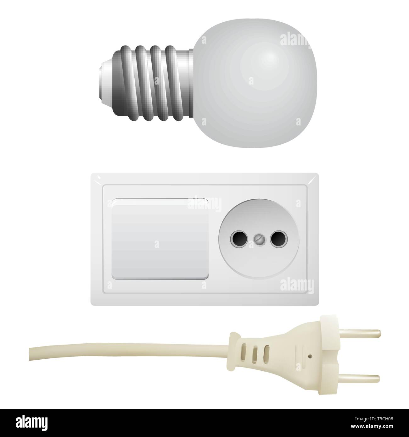 Outlet with plug, light bulb. Set of electrical equipment. Vector illustration. - Stock Vector