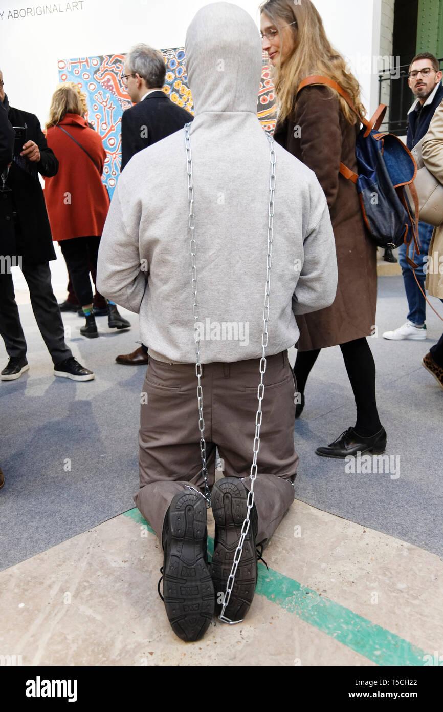Paris, France. 3th April, 2019. Mark Jenkins displayed at Paris Art Fair, Paris, 2019, France. Credit: Veronique Phitoussi/Alamy Stock Photo Stock Photo