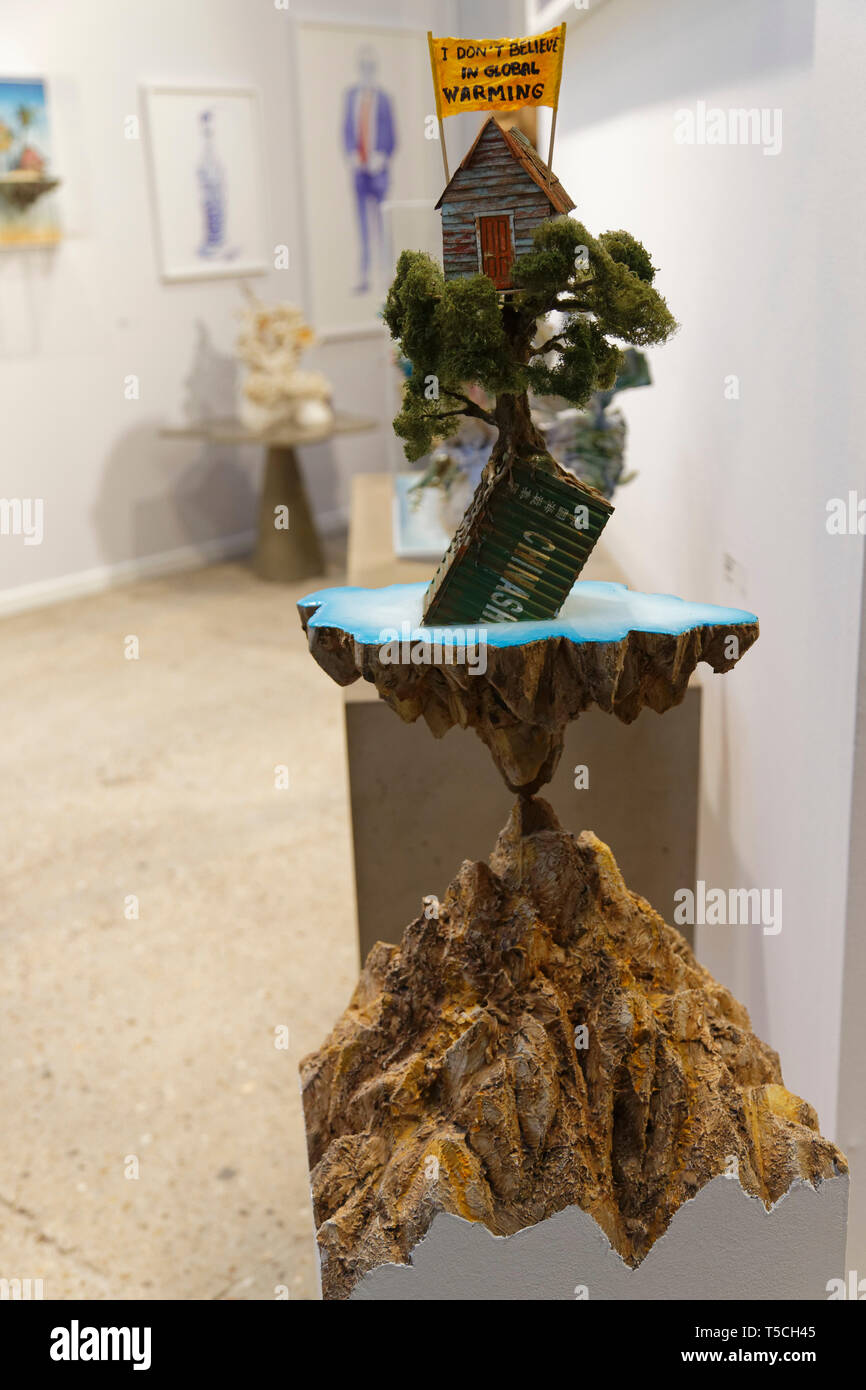 I don't beleive in global warming of La Fratrie exibited  at Art Fair Art Paris. Credit: Veronique Phitoussi/Alamy Stock Photo - Stock Image