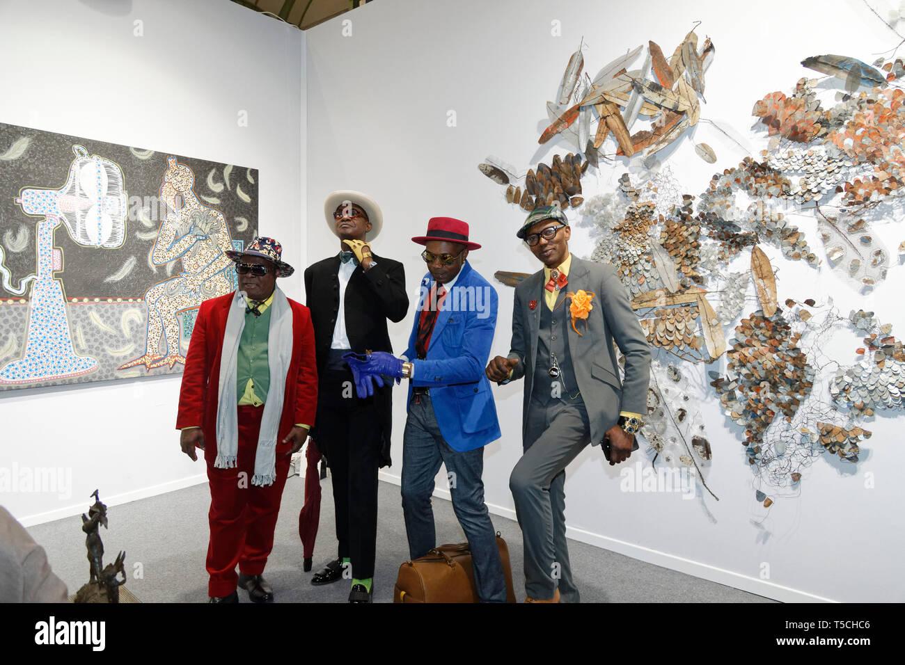 Paris, France. 3th April, 2019. Members of Sapology at Art Fair Art Paris April 3, 2019, France.Credit: Veronique Phitoussi/Alamy Stock Photo Stock Photo