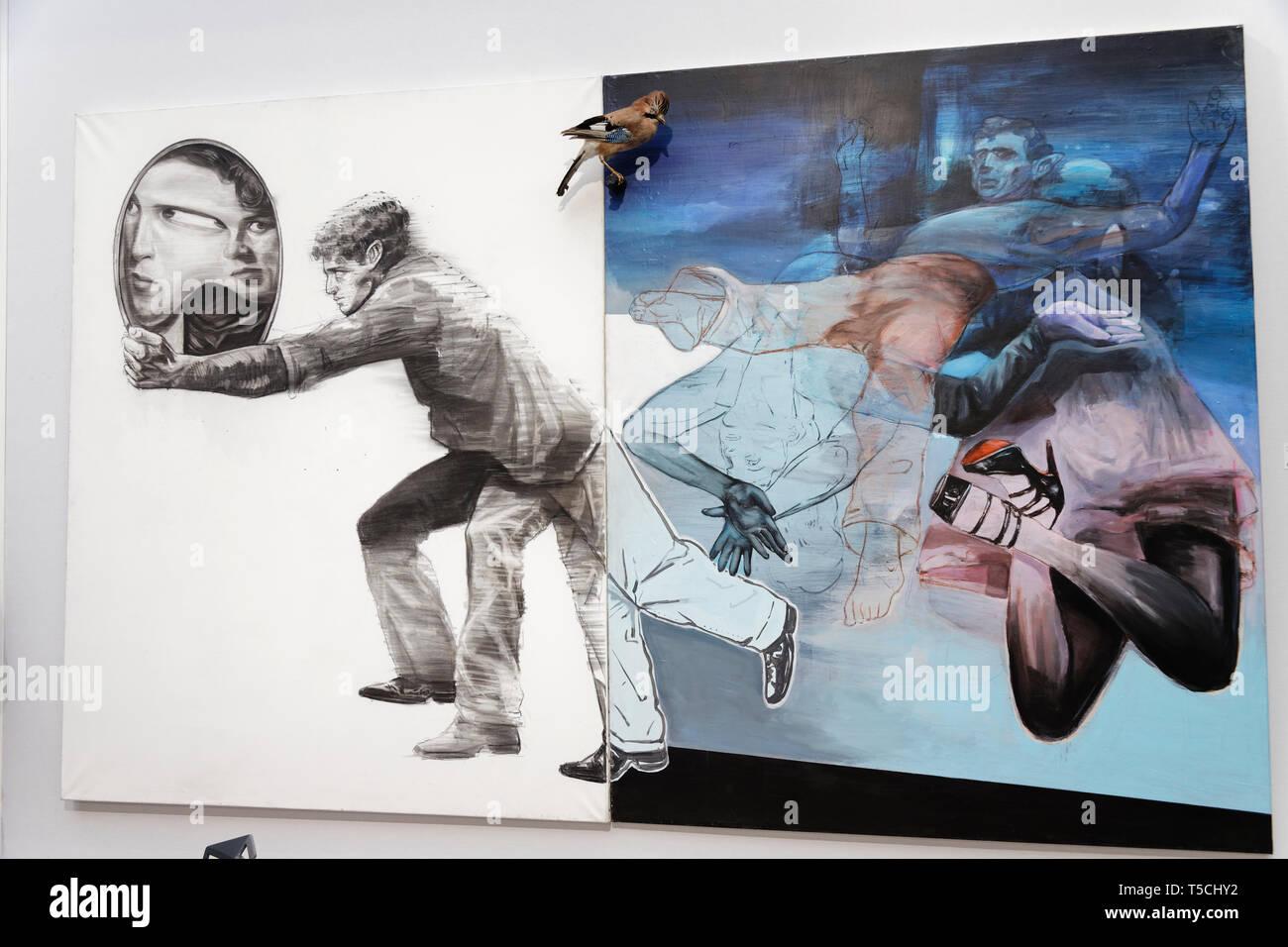 Paris, France. 3th April, 2019. Mohamed Lekleti exibited at  Paris Art Fair, Paris, 2019, France. Credit: Veronique Phitoussi/Alamy Stock Photo Stock Photo