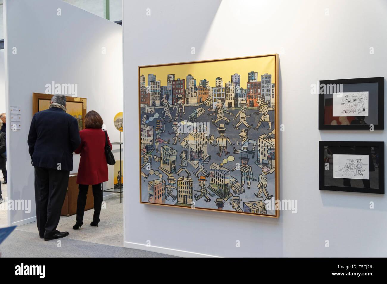 Paris, France. 3th April, 2019. Antonio Segui exibited at Paris Art Fair, Paris, 2019, France. Credit: Veronique Phitoussi/Alamy Stock Photo Stock Photo