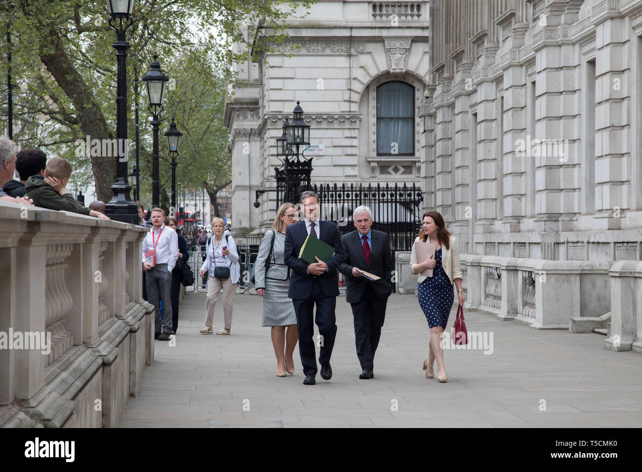 Cabinet Office, London, UK. 23 April 2019. (L-R) Rebecca Long-Bailey, Keir Starmer, John McDonald and a Labour aide resume Brexit talks  with the government at Cabinet Office, Westminster. Credit: Santo Basone/Alamy Live News - Stock Image