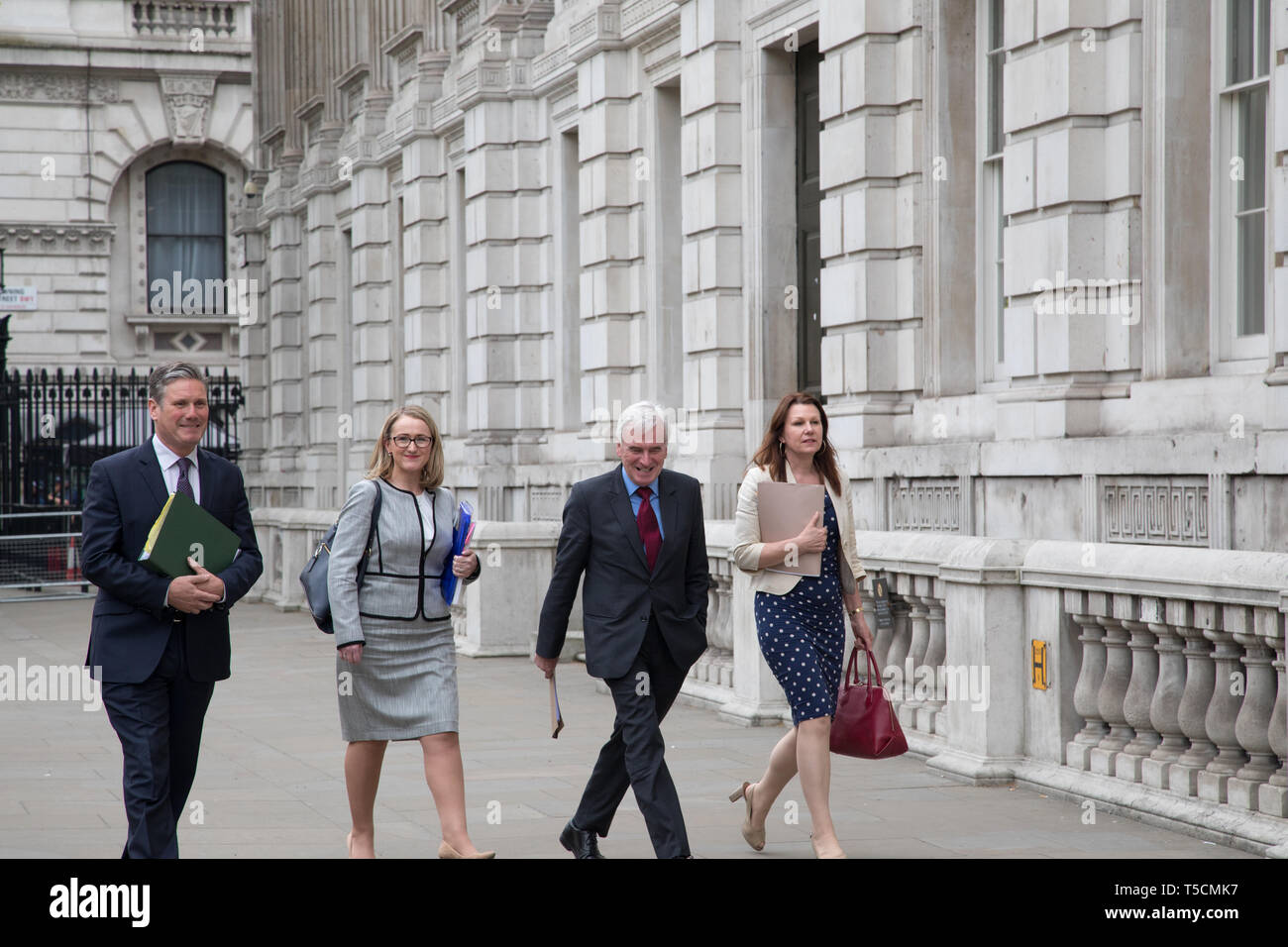 Cabinet Office, London, UK. 23 April 2019. (L-R) Keir Starmer, Rebecca Long-Bailey, John McDonald and a Labour aide resume Brexit talks  with the government at Cabinet Office, Westminster. Credit: Santo Basone/Alamy Live News - Stock Image