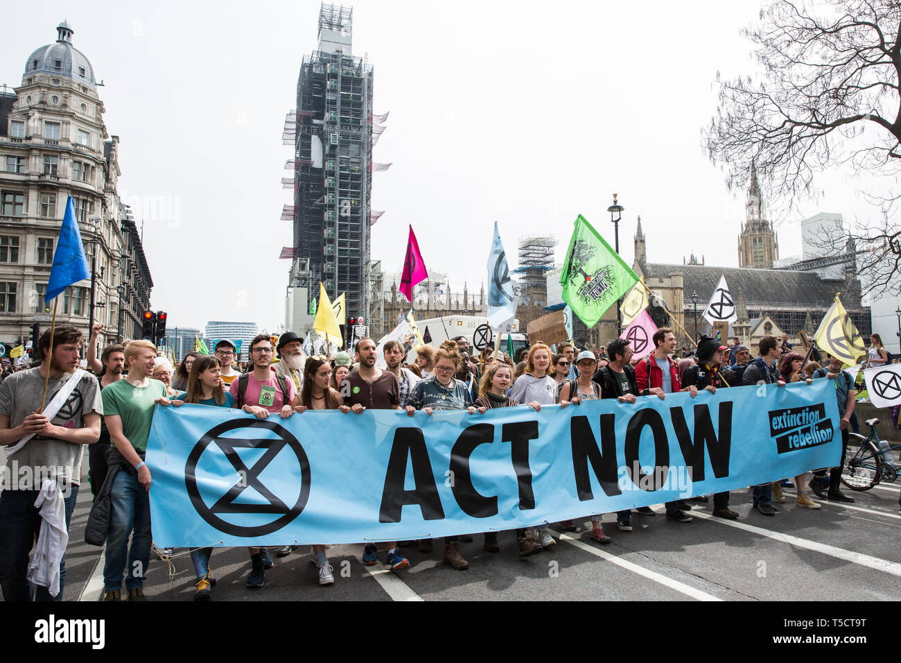 London, UK. 23rd April 2019. Climate change activists from Extinction Rebellion march from Marble Arch to Parliament Square to hold an assembly outside Parliament and to arrange for the delivery of letters from the activists requesting meetings with their Members of Parliament. Credit: Mark Kerrison/Alamy Live News - Stock Image