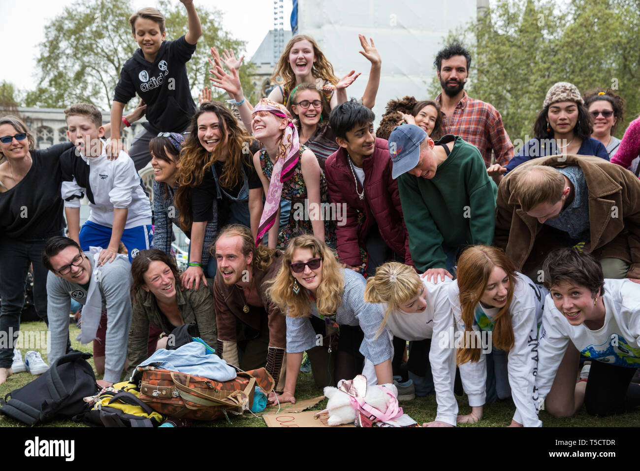 London, UK. 23rd April 2019. Climate change activists from Extinction Rebellion attend an assembly in Parliament Square before attempting to deliver letters to their Members of Parliament requesting meetings to discuss the issue of climate change. All but ten were prevented from doing so by the Metropolitan Police. Credit: Mark Kerrison/Alamy Live News - Stock Image