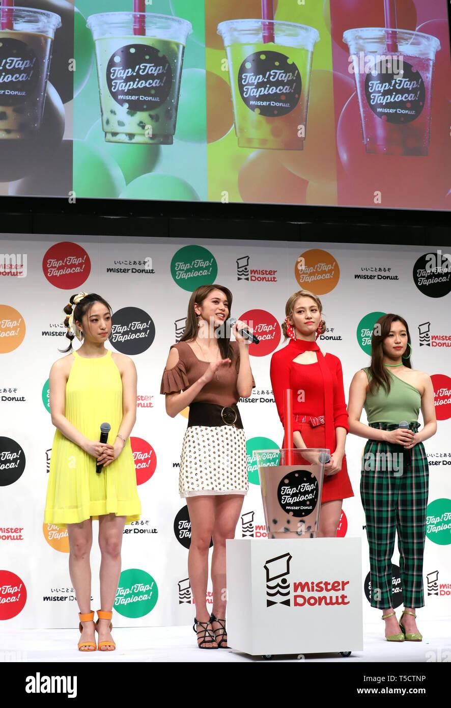Tokyo Japan 23rd Apr 2019 E Girls Members L R Nozomi Bando Harumi Sato Kaede And Nonoka