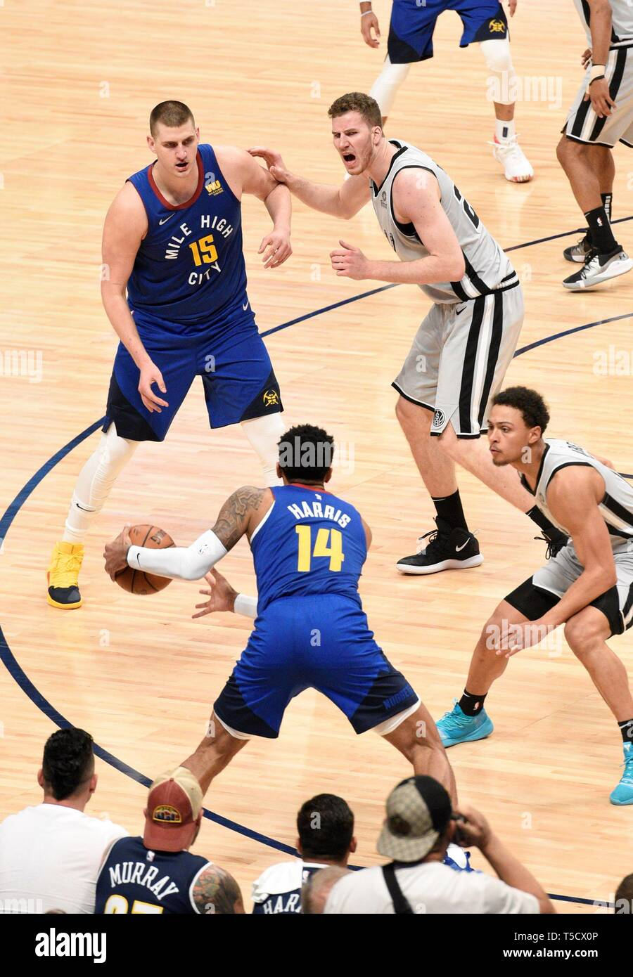 Denver, USA  23rd Apr, 2019  Denver Nuggets guard Gary Harris (L