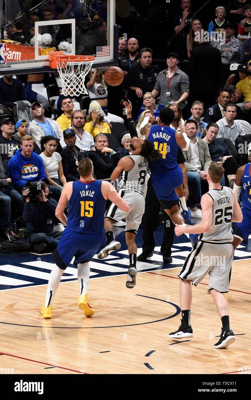 Denver, USA  23rd Apr, 2019  San Antonio Spurs guard Patty