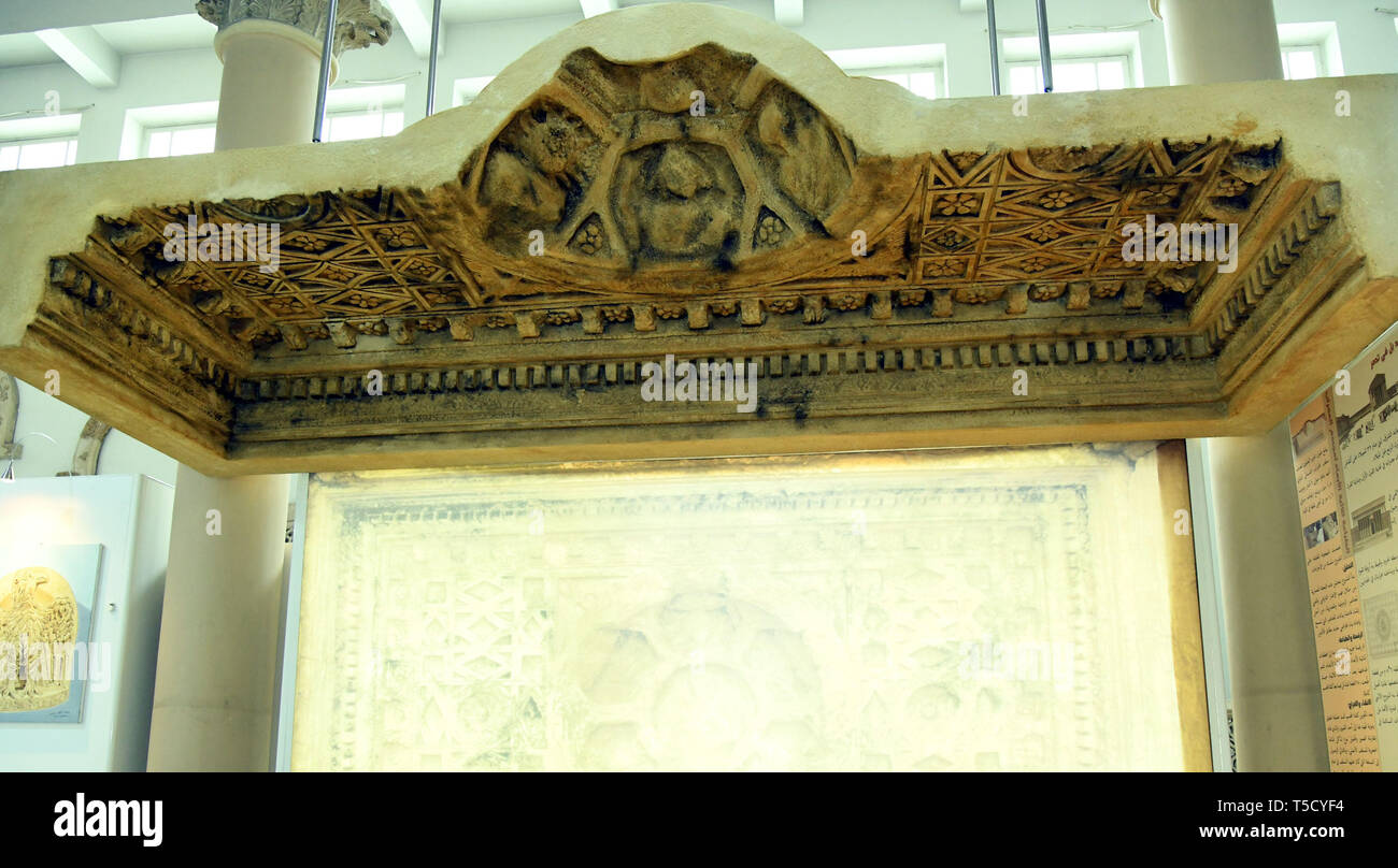Syria, Syria. 23rd Apr, 2019. A 3D-printed ceiling of a worship area of the Bel Temple of Palmyra is showcased in the Damascus National Museum in Damascus, Syria, on April 23, 2019. Italian artists replicated the part of the ceiling that was produced as a gift to the national museum. The original part of the ceiling was destroyed along with the entire Bel Temple by the Islamic State (IS) group during its invasion of the ancient oasis city of Palmyra in 2014. Credit: Ammar Safarjalani/Xinhua/Alamy Live News - Stock Image