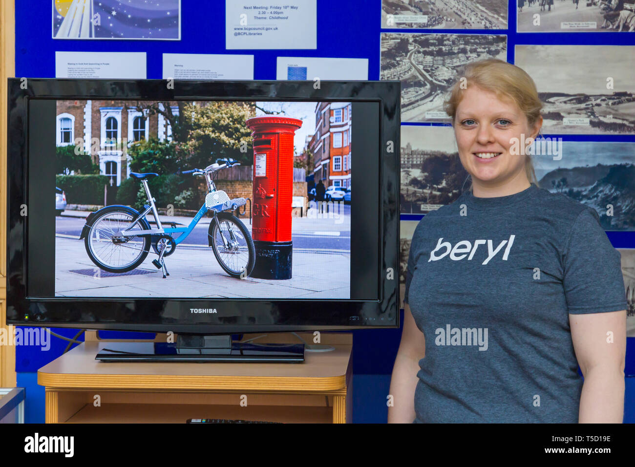 Bournemouth Library, Bournemouth, Dorset, UK. 24th Apr, 2019. Residents get the opportunity to get a first glimpse of the Beryl Bikes, meet the Beryl Team and find out more, aiming to get more people using bikes and less cars on the roads. Operator Beryl plan to launch Beryl's first bike share scheme in Bournemouth and Poole next month with 50 bikes initially, rising to 1000. Riders will secure and leave the bikes in 'Beryls Bays' parking zones, gaining access using an app - the bikes weigh approx 5kg with built in lights and equipped with GPS tracking. Credit: Carolyn Jenkins/Alamy Live News - Stock Image
