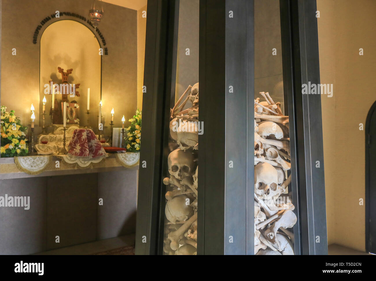 Beirut Lebanon, 24th April 2019.  The skeletal remains of Armenians killed  from persecutions by the Ottoman government in 1915 are displayed at the Saint Stephanos chapel in the Armenian Orthodox Archdiocese in Antelias, north of the Lebanese capital, Beirut as Armenians worldwide commemorate the  1.5 million Armenians in 1915 who were systematically killed by the  Ottoman Turkish Government. Turkey has fiercely rejected the term 'Genocide' and refuses to recognise the claims of the Armenian people Credit: amer ghazzal/Alamy Live News - Stock Image