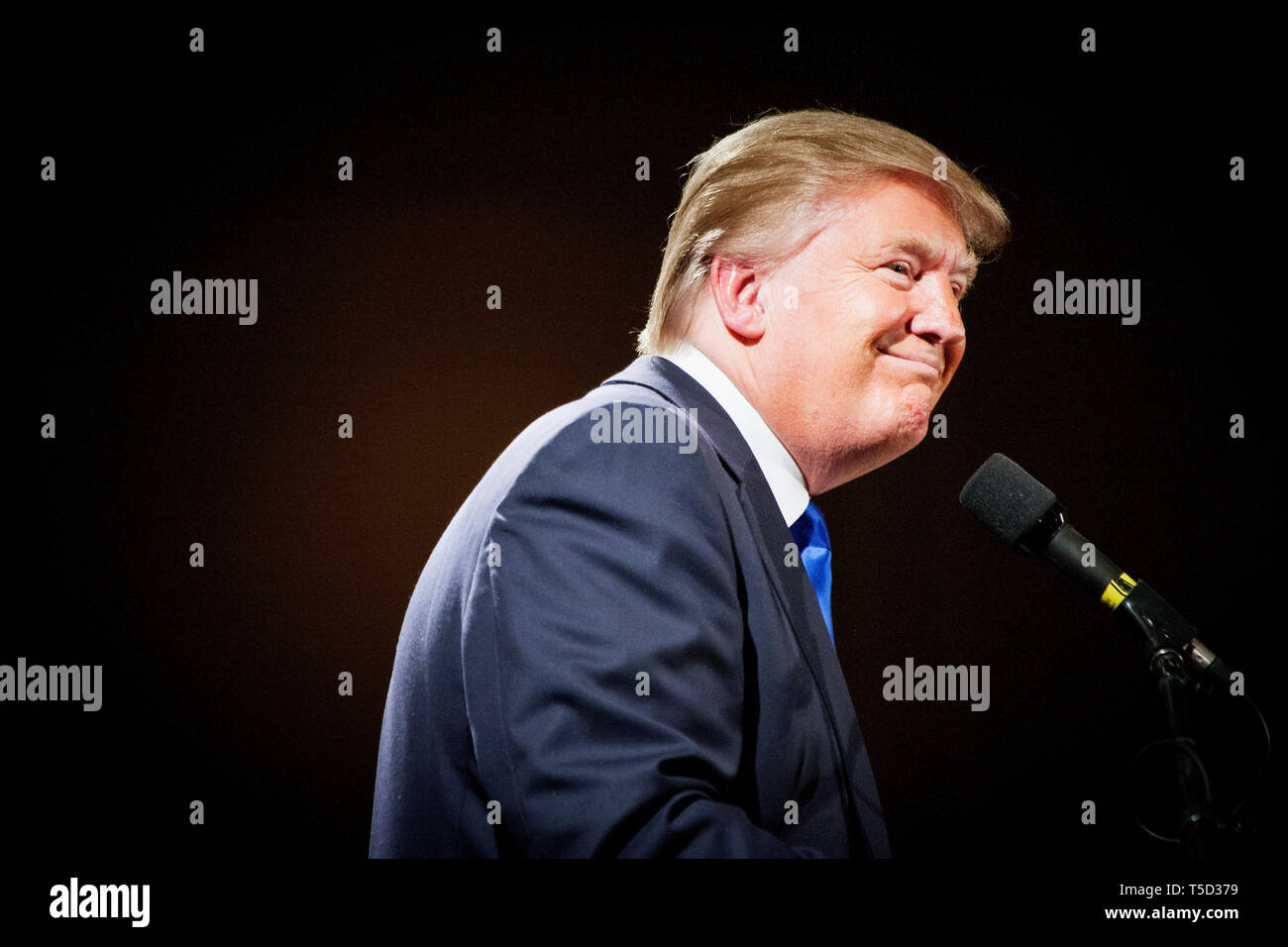 Real Estater and TV Entertainer Donald J. Trump is flirting with the idea of running for President in the 2012 Election. Wednesday he made an important visit with the Nashua Chamber of Commerce in New Hampshire. Stock Photo