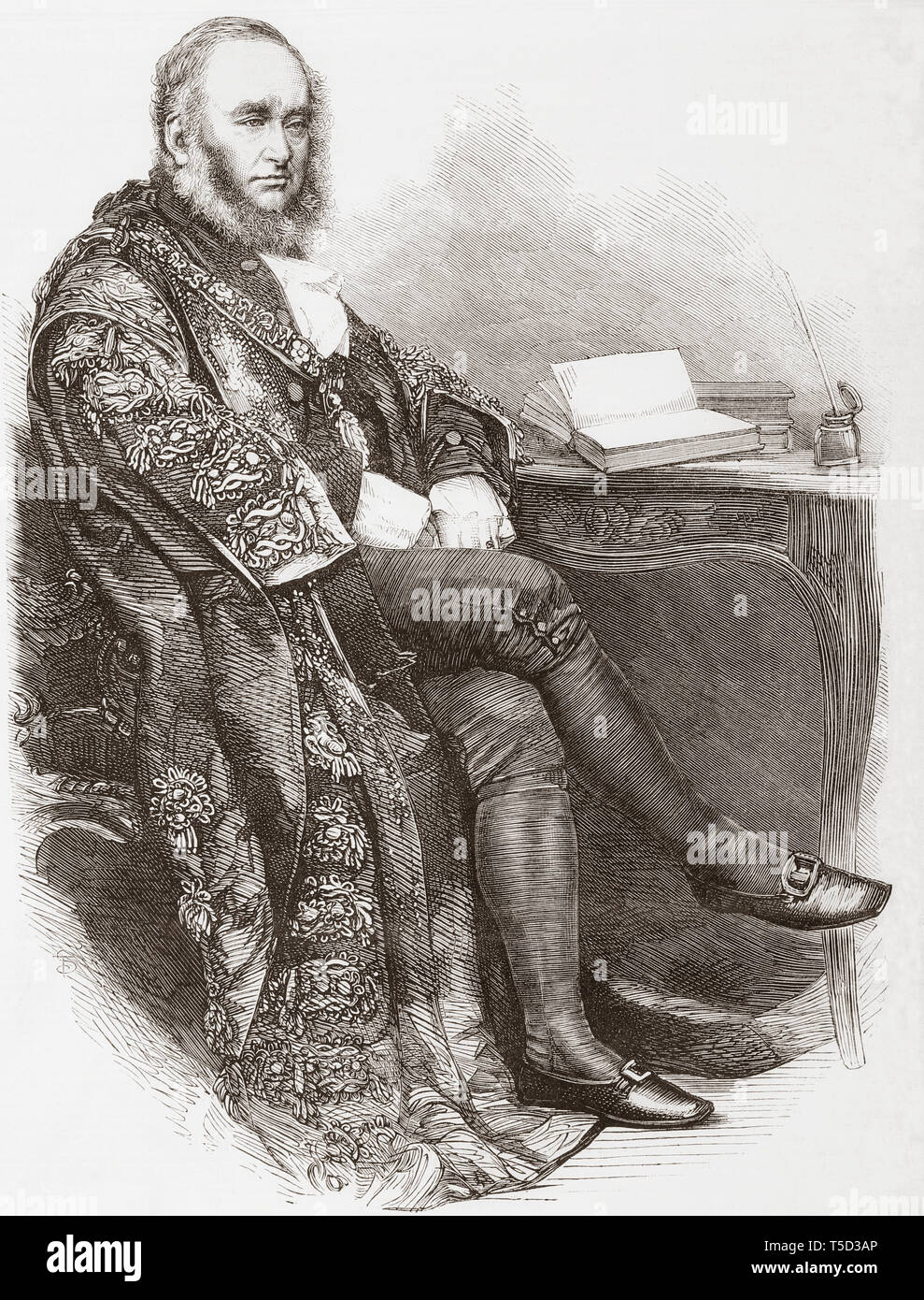Sir Benjamin Samuel Faudel-Phillips, 2nd Baronet, 1871–1927.  Lord mayor of London in the 19th century.  From The Illustrated London News, published 1865. - Stock Image