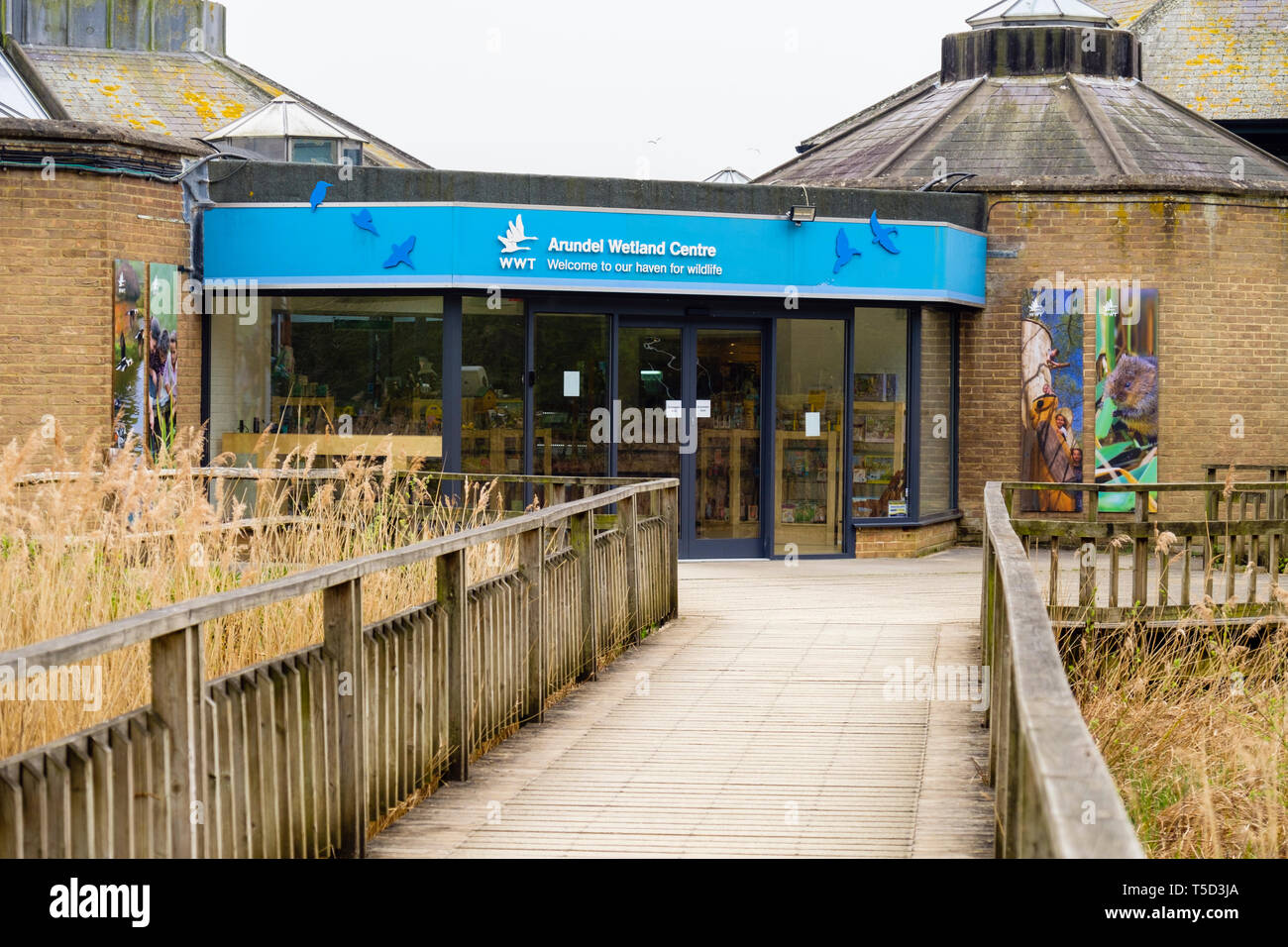 Arundel Wetland Centre building entrance to the Wildfowl and Wetlands Trust nature reserve. Arundel, West Sussex, England, UK, Britain Stock Photo