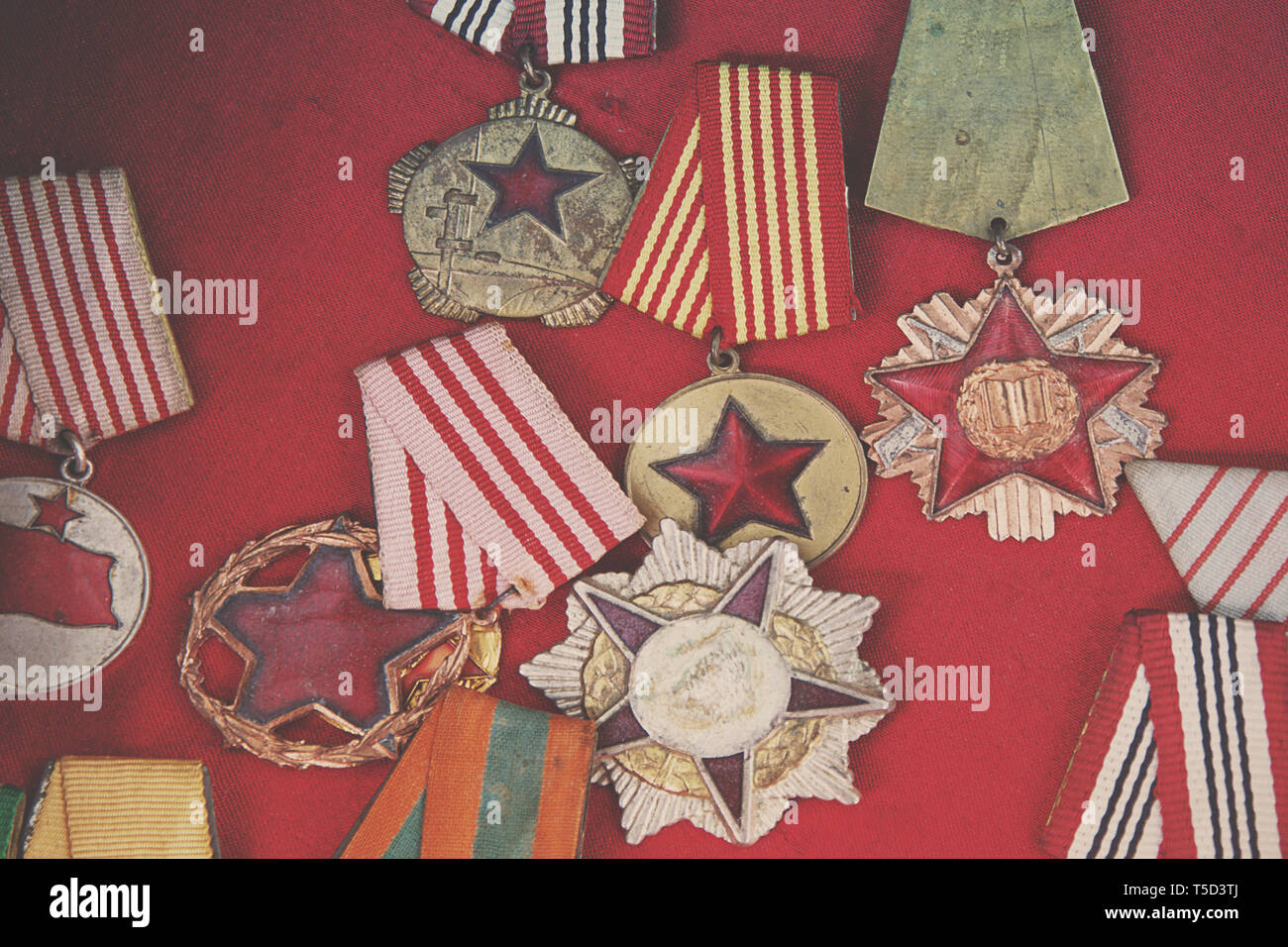 ancient medals of the communist era, albania - Stock Image