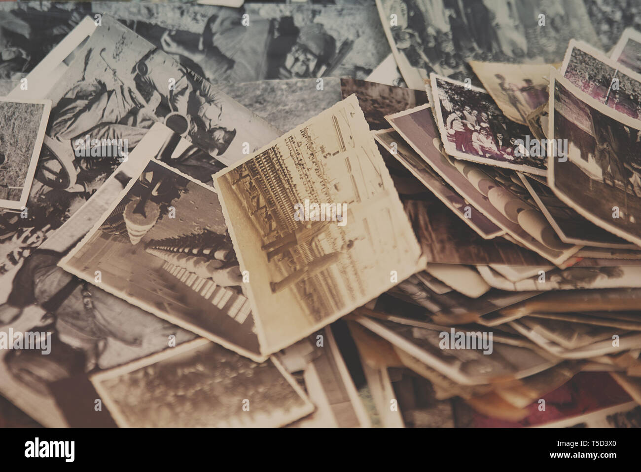 Old analog photos in Tirana market, Albania - Stock Image