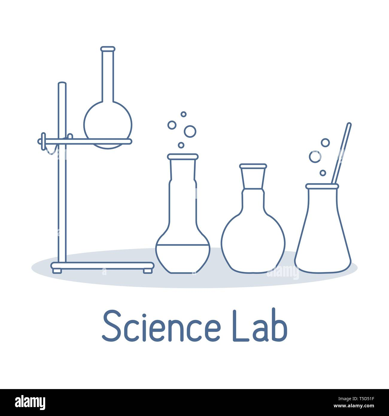 Vector science illustration with flasks, equipment stand. Laboratory equipment. Education elements. Chemistry, biology, medicine. Stock Vector