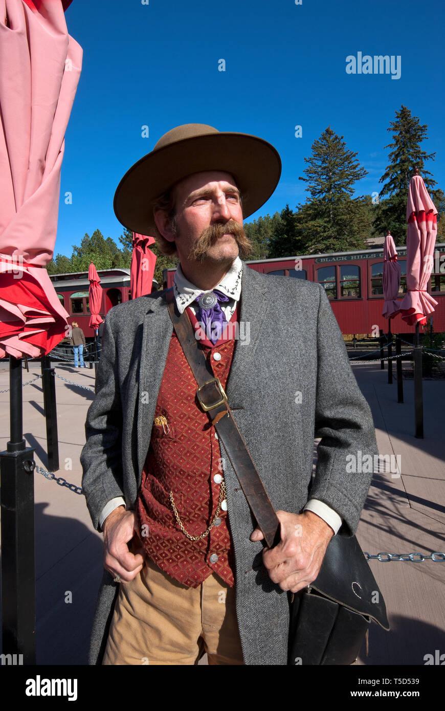 Actor reenacting the famous gambler and gunman James Butler Hickok (known as Wild Bill Hickok), Hill City Station, South Dakota, USA - Stock Image
