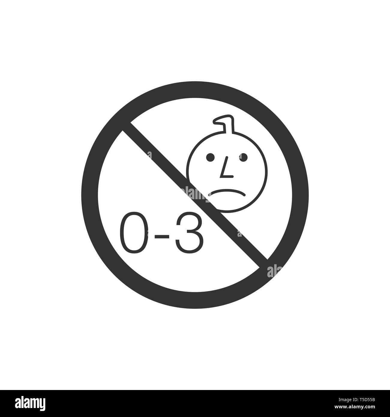 Not suitable for children under 3 years old 2 - Stock Vector