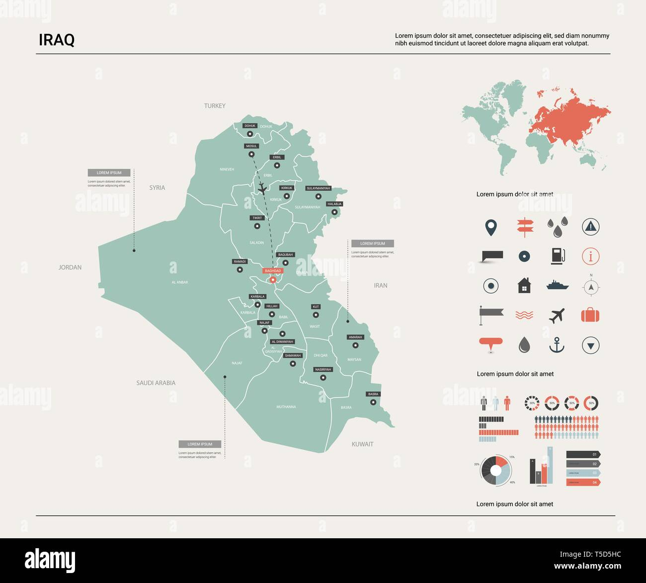Vector map of Iraq. High detailed country map with division, cities ...