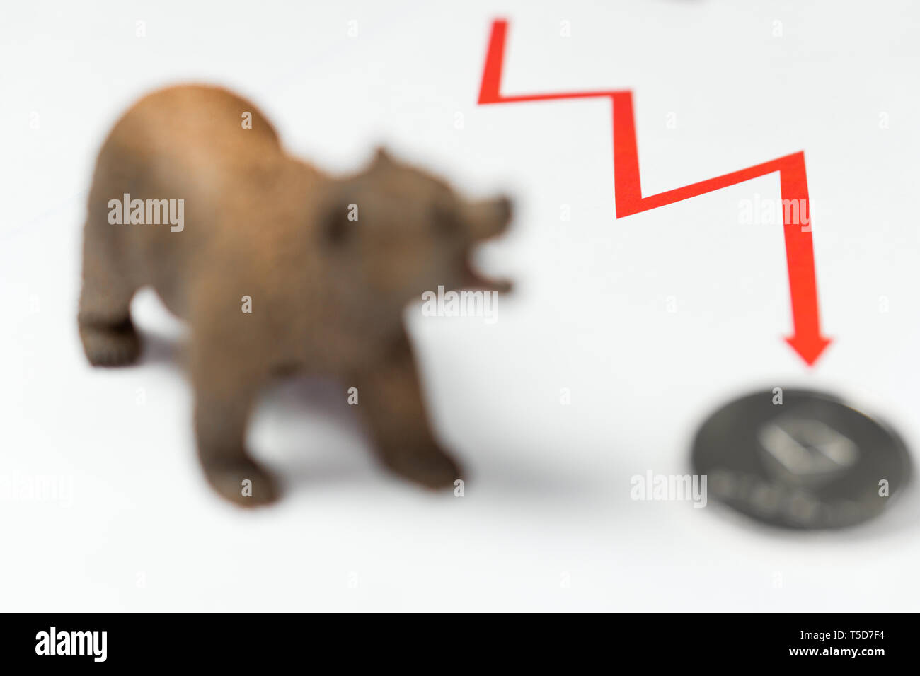 Cryptocurrency Ethereum price crash and drop as a bear trend concept - Stock Image
