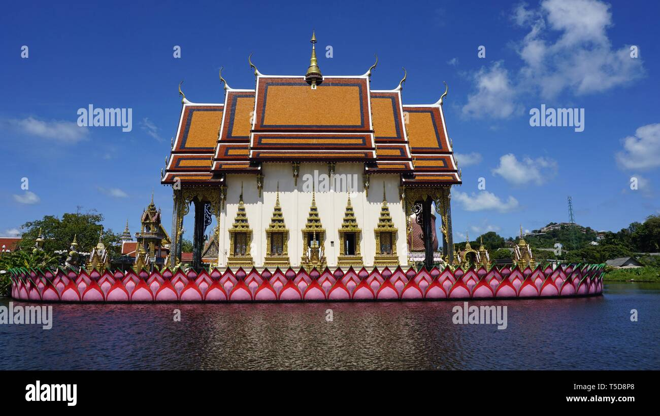 chinese plai laem temple on koh samui in thailand Stock Photo