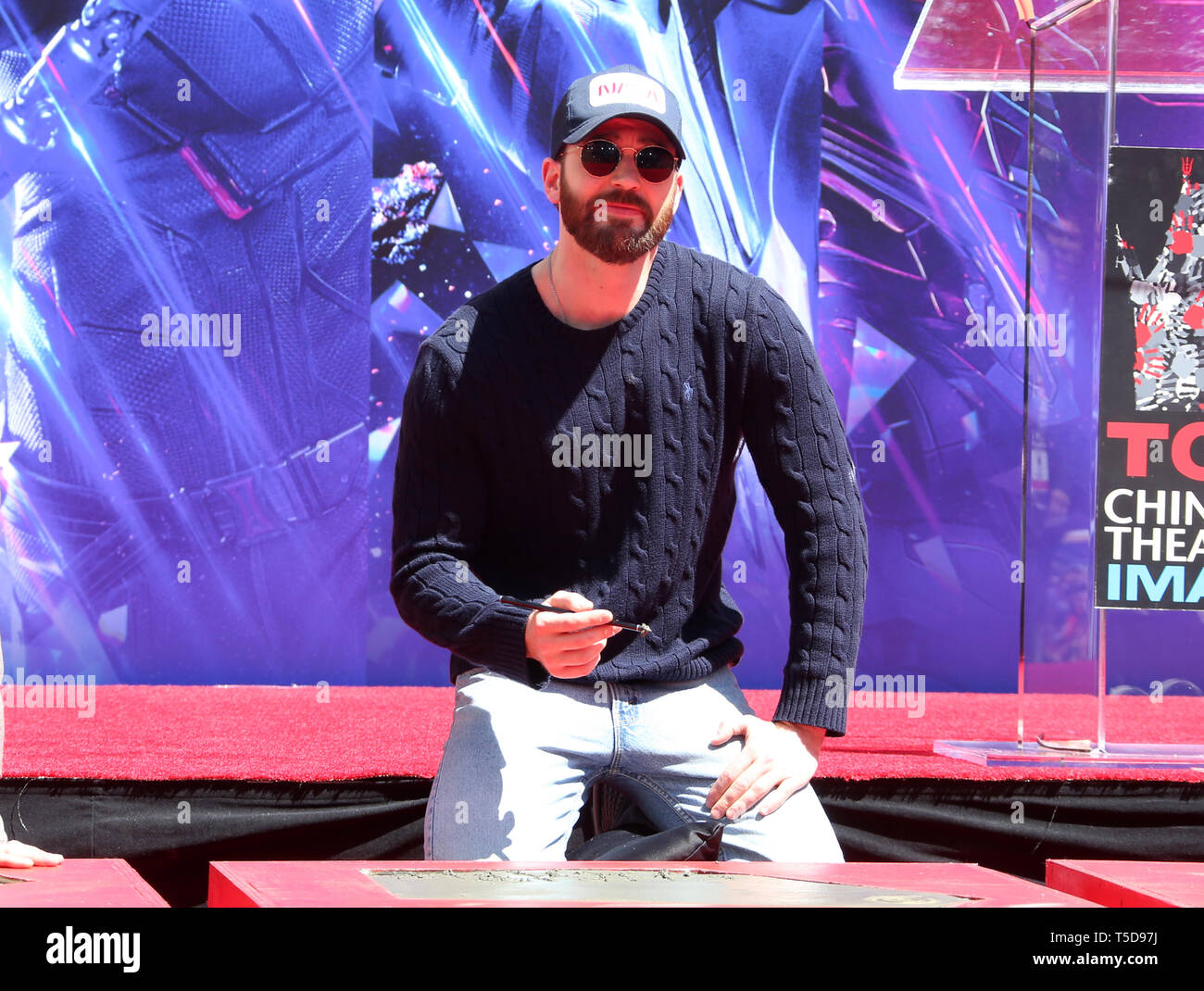 April 23, 2019 - Hollywood, CA, U.S. - 23 April 2019 - Hollywood, California - Chris Evans. Marvel Studios' ''Avengers: Endgame'' Cast Place Their Hand Prints In Cement held at TCL Chinese Theatre. Photo Credit: Faye Sadou/AdMedia (Credit Image: © Faye Sadou/AdMedia via ZUMA Wire) Stock Photo