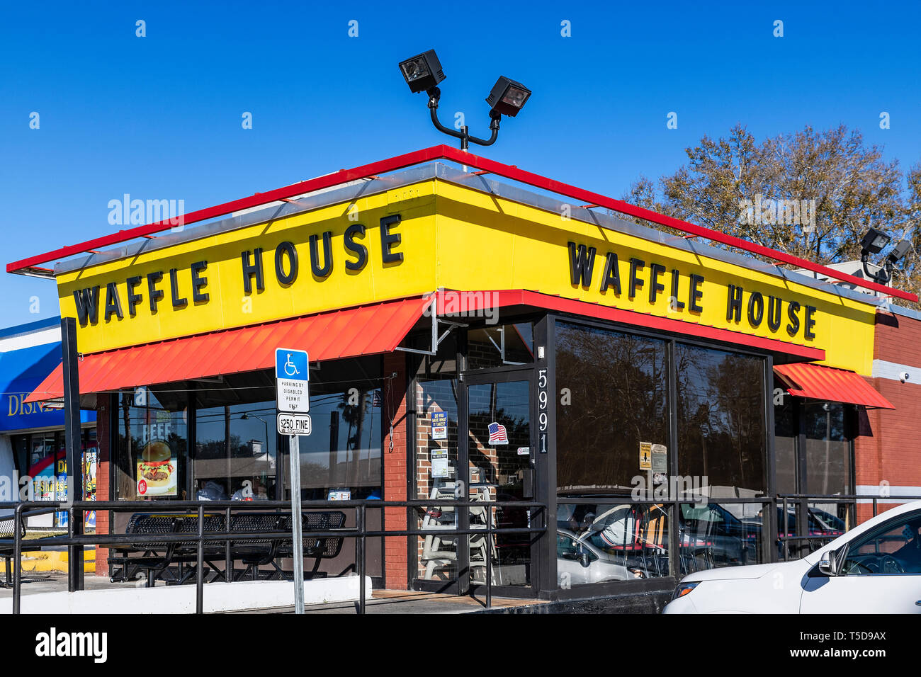 Waffle House is an American restaurant chain predominately located in the southern states. - Stock Image