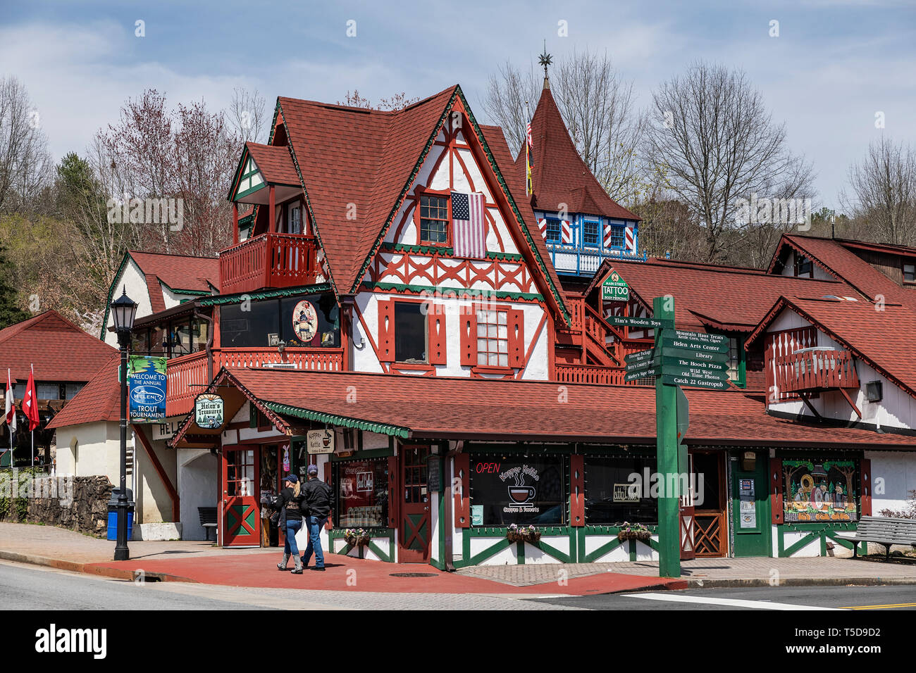 Helen, Georgia is a town modeled on a Bavarian alpine design motif that has made it a tourist attraction. - Stock Image