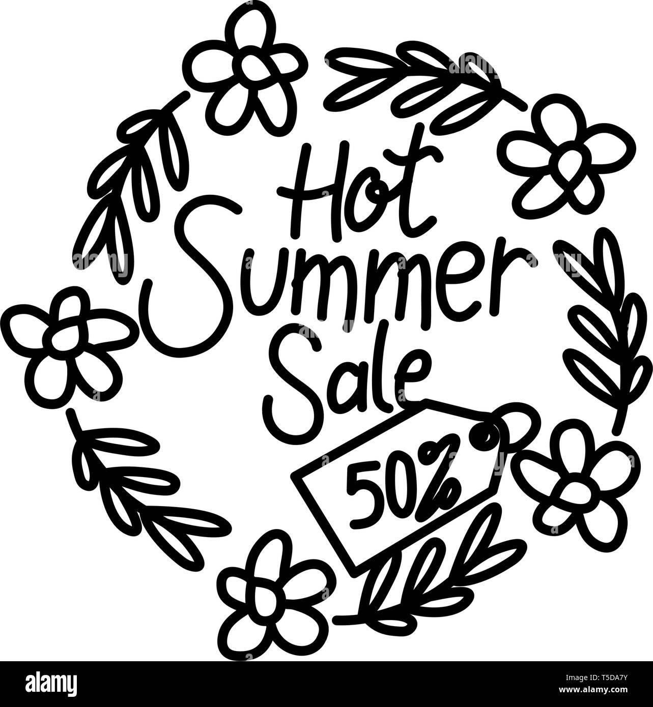 Hot Summer Sale Script Text Design Template - Stock Vector