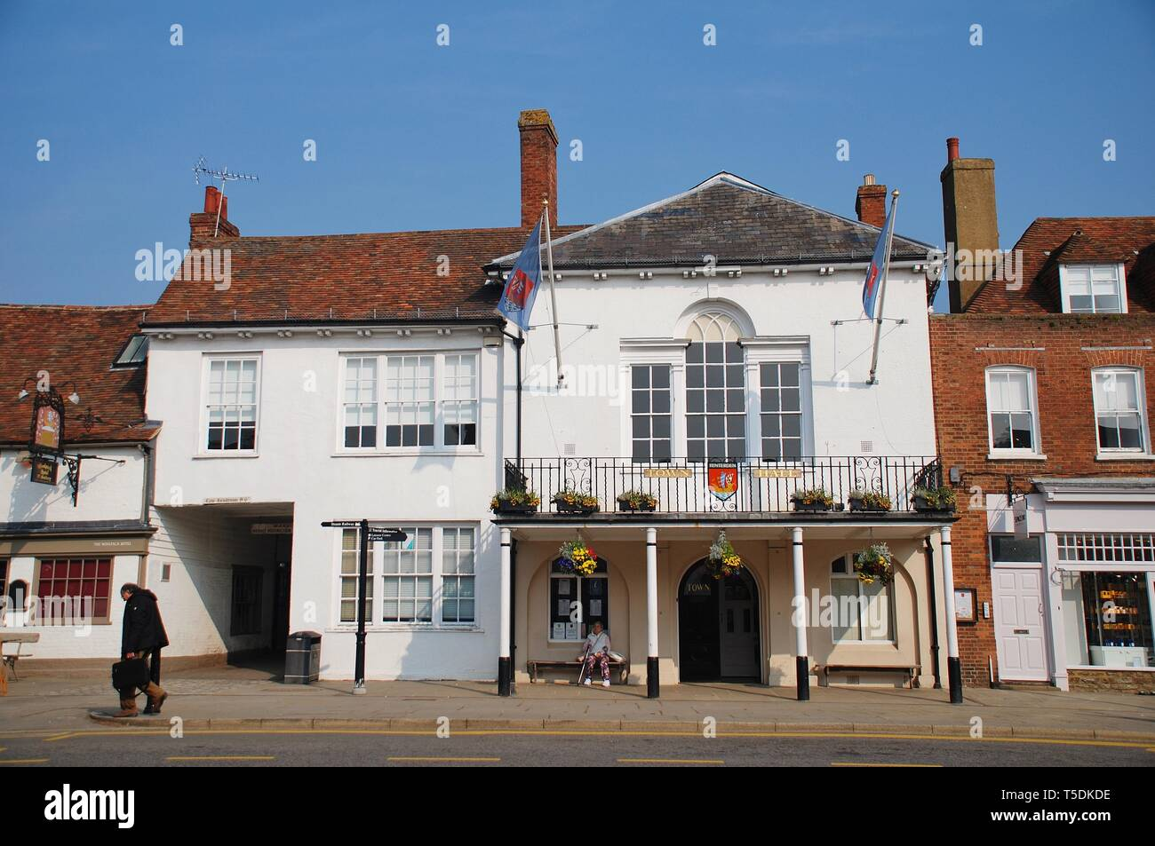 The Town Hall at Tenterden in Kent, England on April 17, 2019. The building dates from 1790. The Woolpack pub and hotel stands next door. - Stock Image