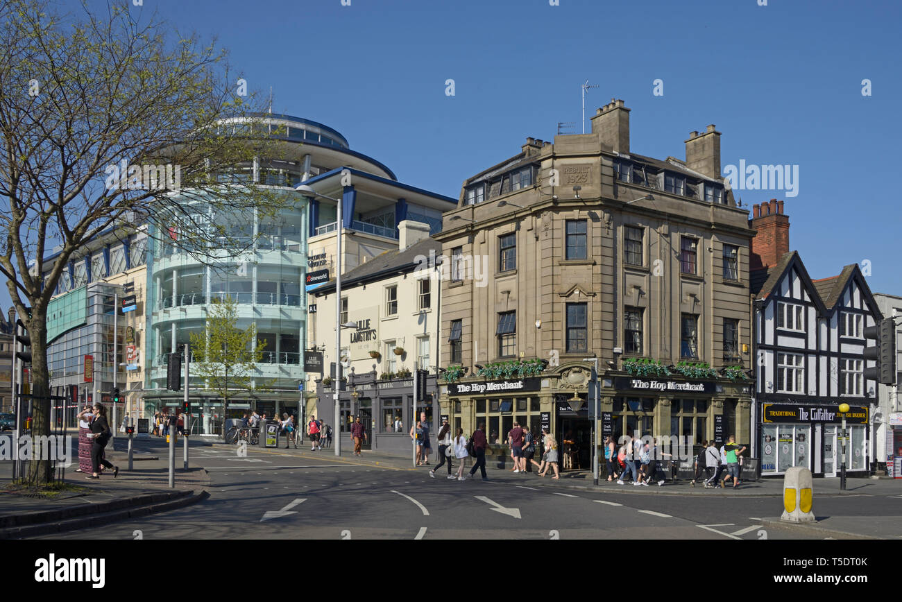 Pubs & Corner House, Entertainment area, Nottingham. - Stock Image