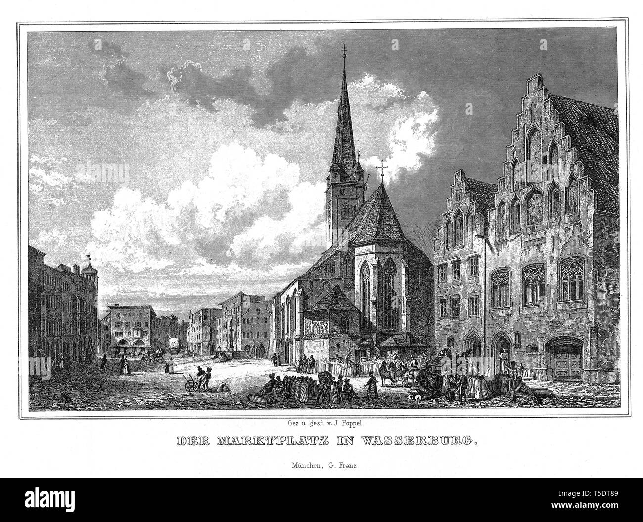 Market square, moated castle near Inn, Steel engraving by J. Poppel, 1840-54, The Kingdom of Bavaria, Germany Stock Photo