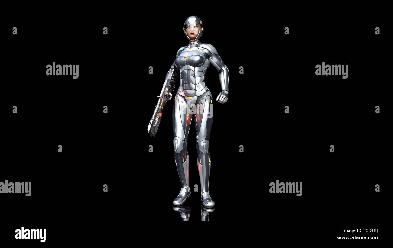 Futuristic android soldier woman in bulletproof armor, military cyborg girl armed with sci-fi rifle gun standing on black background, 3D rendering - Stock Image
