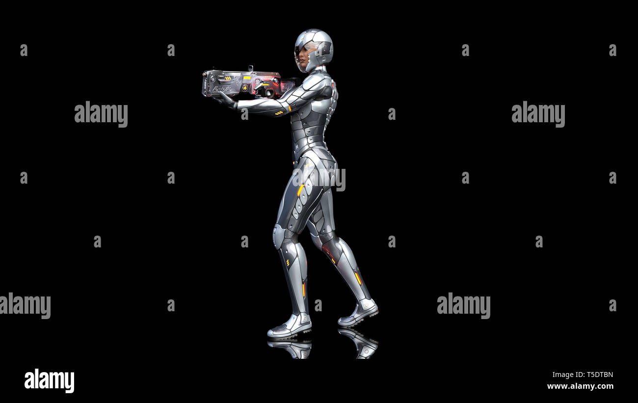 Futuristic android soldier woman in bulletproof armor, military cyborg girl armed with sci-fi rifle gun walking and shooting on black background, 3D r - Stock Image