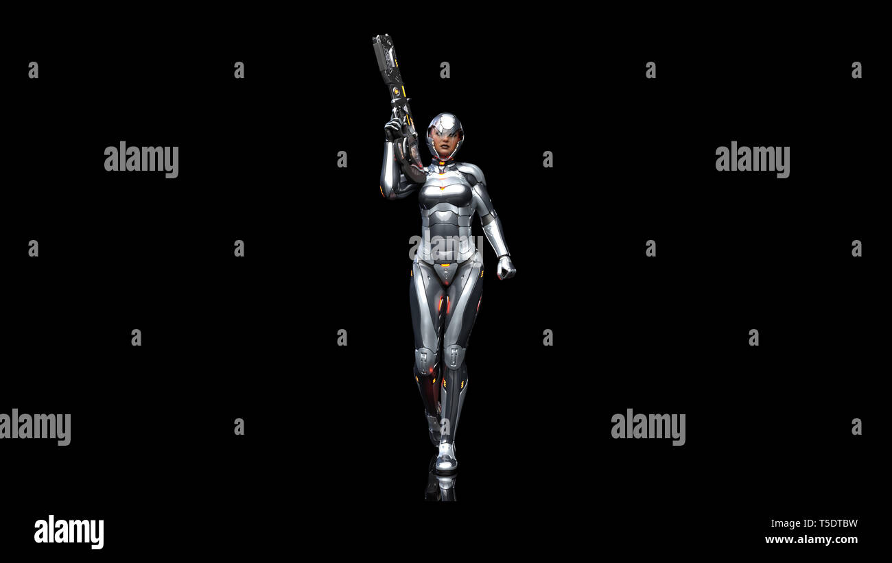 Futuristic android soldier woman in bulletproof armor, military cyborg girl armed with sci-fi rifle gun walking on black background, 3D rendering - Stock Image