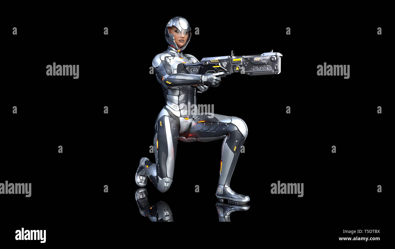Futuristic android soldier woman in bulletproof armor, military cyborg girl armed with sci-fi rifle gun kneeling on black background, 3D rendering - Stock Image
