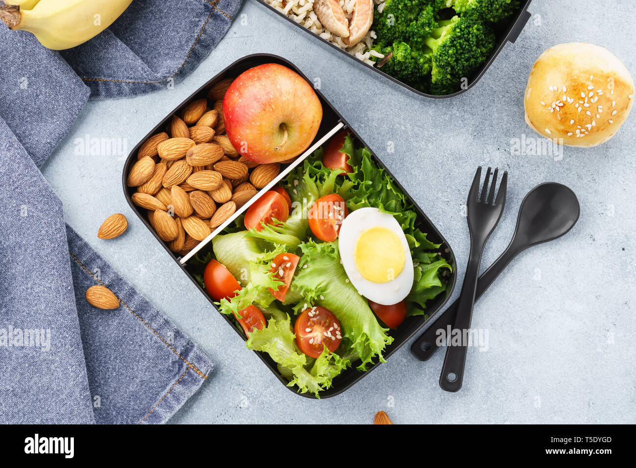 Various Lunch Boxes With Healthy Food And Ingredients Takeaway Or Delivery Concept Stock Photo Alamy