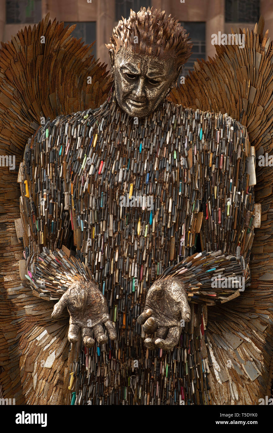 Coventry Cathedral. Thursday April 18 2019  Artist Alfie Bradley's Knife Angel, stands outside Coventry Cathedral. Dedicated to victims of knife crime. - Stock Image